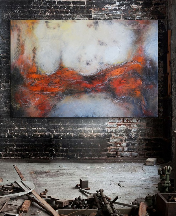 "Terra Nova, 40""x60"" Textural Red and grey abstract Painting ready to hang - Image 0"