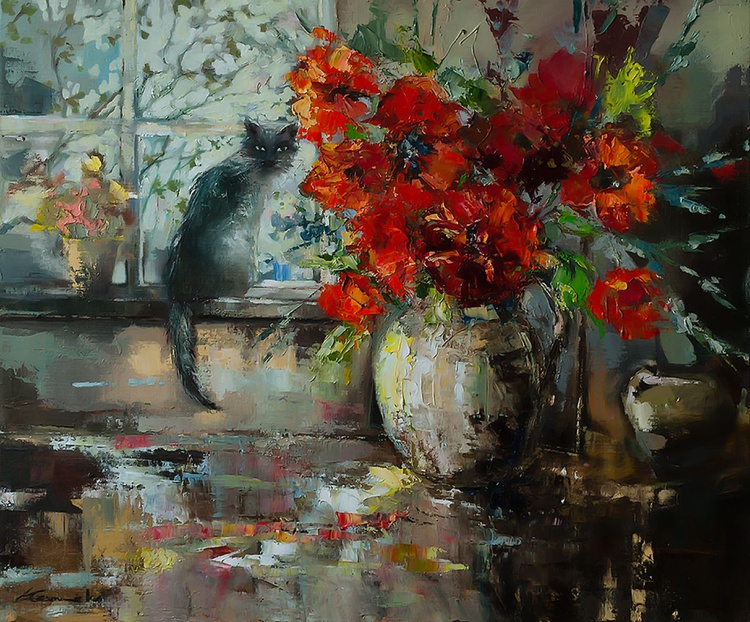 'Bouquet of Red Flowers and the Cat' - Image 0