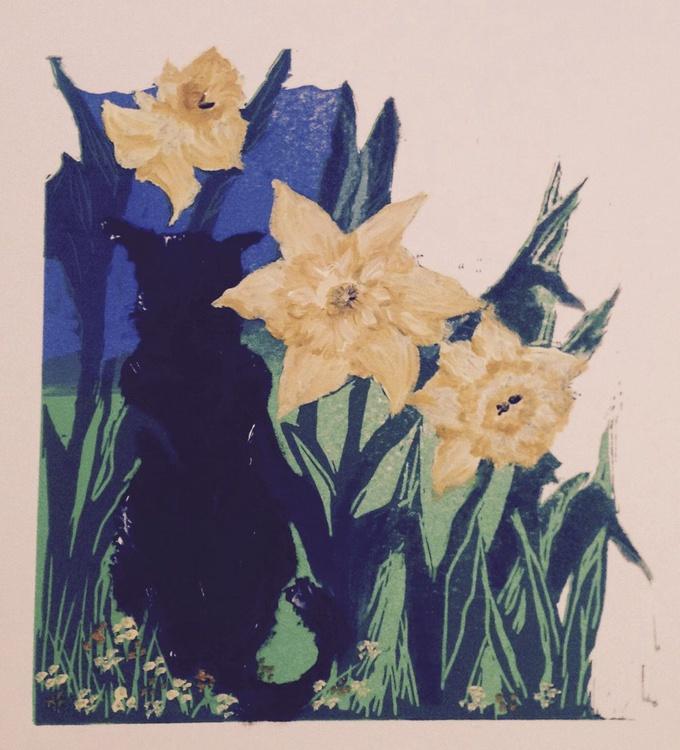 Sunshine Cat: Belle and Giant Daffodils, Handmade Linocut - Image 0