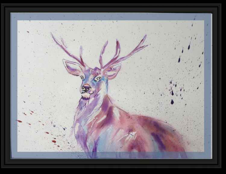 """King of Harts"" (Stag) 11 X 15 inch watercolour mounted ready to frame -"