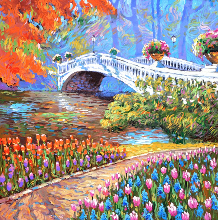 September Park -  Oil acr. painting by Dmitry Spiros. 40 x 40 in (100 x 100 cm) - Image 0