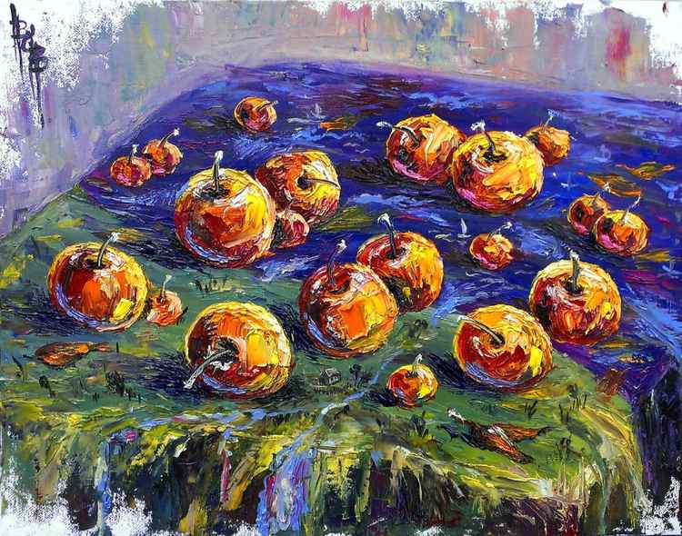 Psychedelic apples on the tablecloth-river. -
