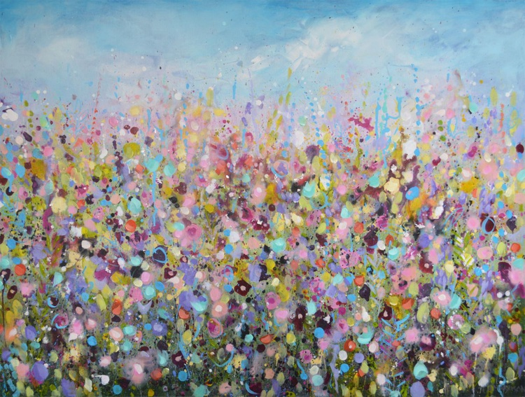 Lazy Days - Large Floral Abstract Painting - Image 0