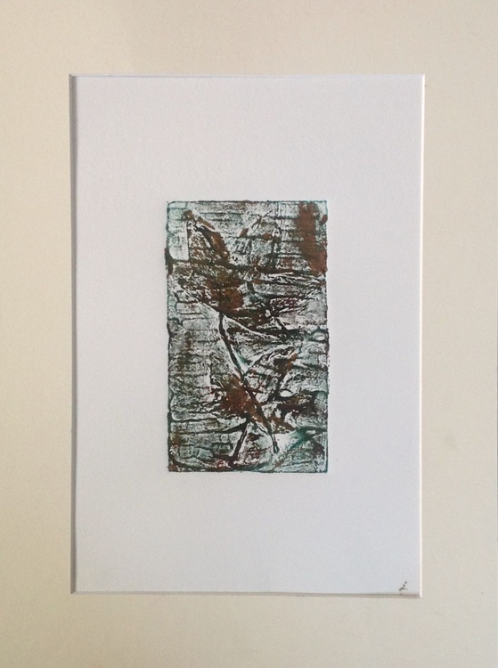 Traces I-abstract landscape-handmade collagraph print - Image 0