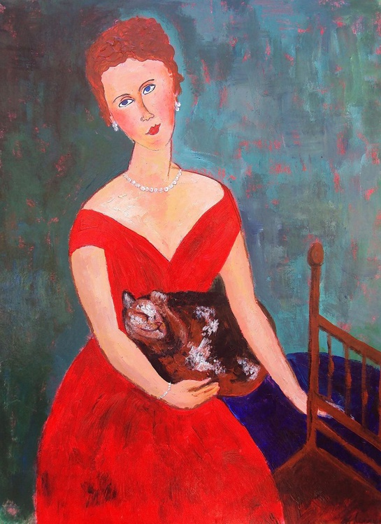 Woman Red Evening Dress Tortoiseshell Cat - Image 0