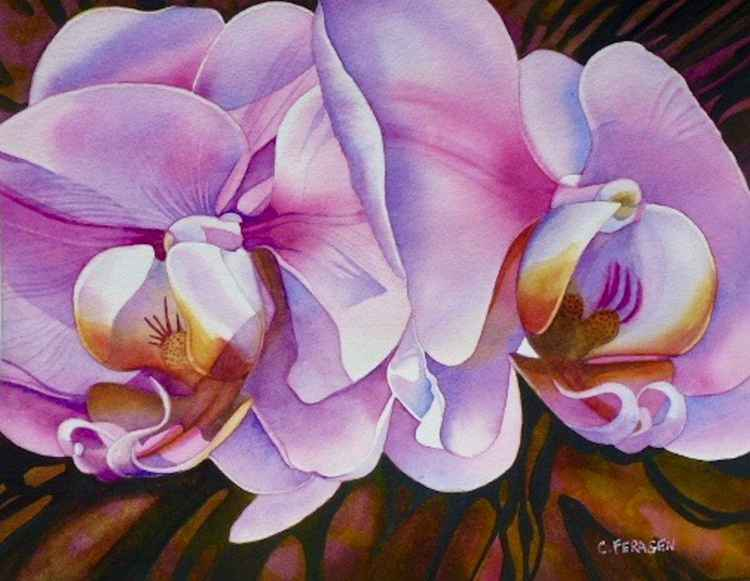 Two Pink Orchids -