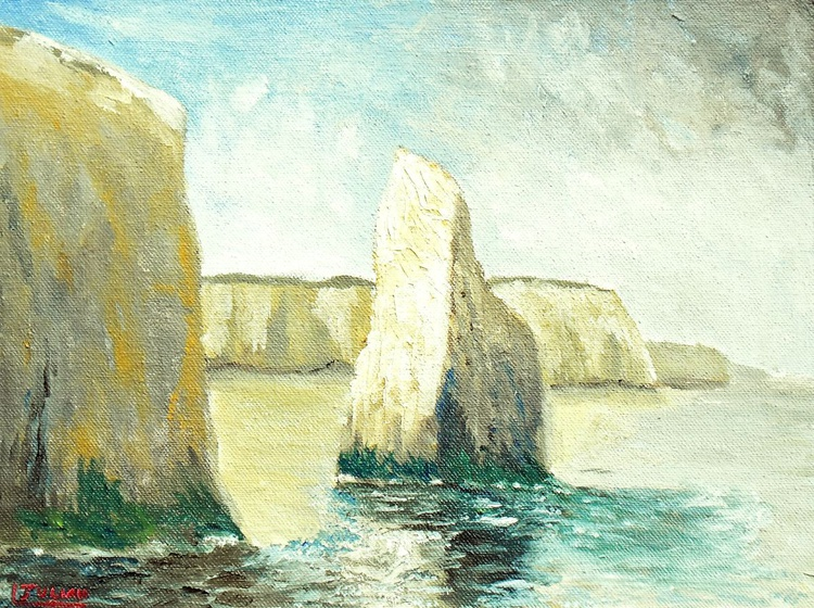 Chalk stacks at Botany Bay, Kent - An original oil painting on board. Lovely Gift! - Image 0
