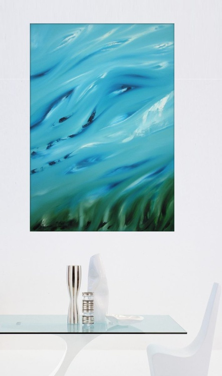 The grass murmur - Original abstract painting, oil on canvas - Image 0