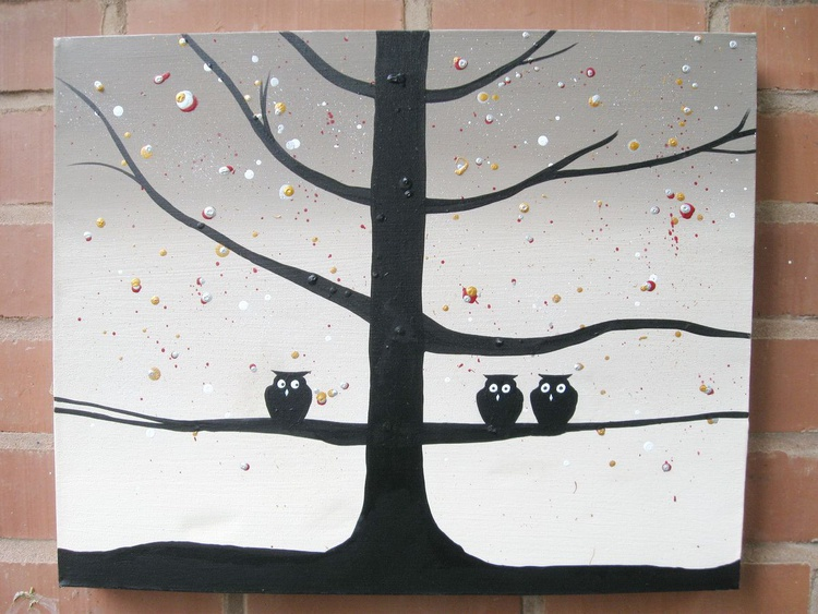 """original cute owl painting """"The Owl Squad"""" painting art canvas - 20 x 16 inches abstract arts - Image 0"""