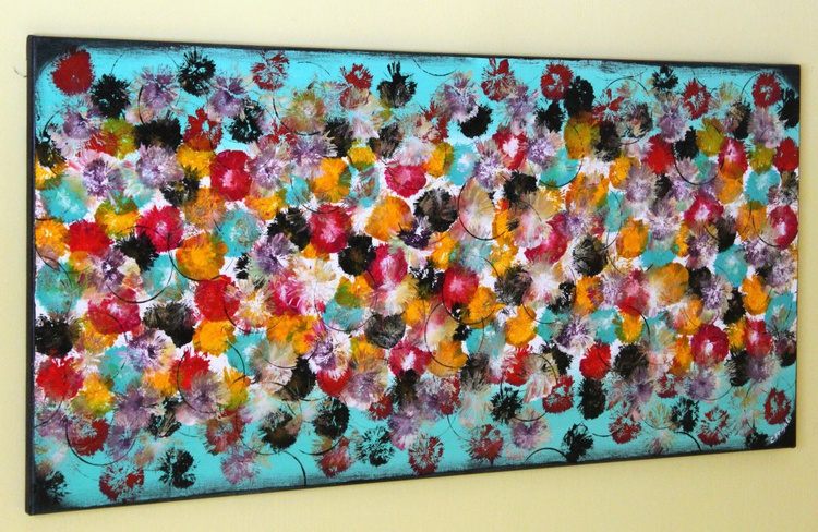 """Vintage Springs #3 Large Original Abstract Painting , 42"""" x 20""""Vintage Home Decor - Image 0"""