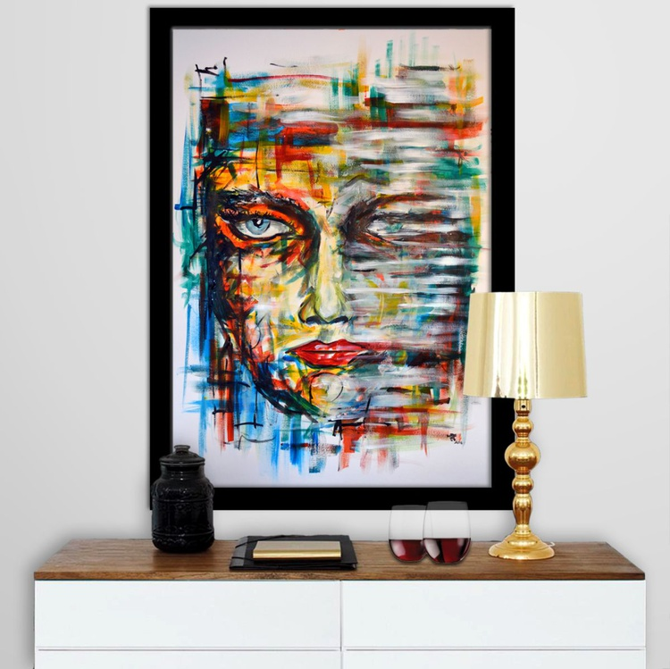 Looking - Abstract Art Painting On A1 Big Size Paper - Image 0