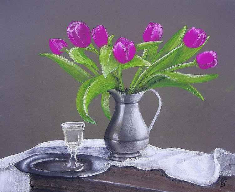 Tulips in a Silver Pitcher -