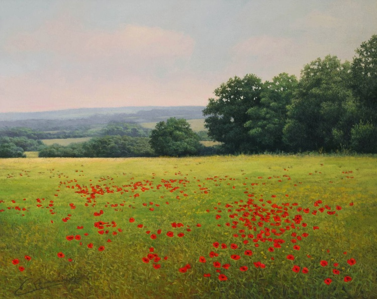 """""""SUMMER MEADOW"""" Photorealistic landscape oil painting - Image 0"""