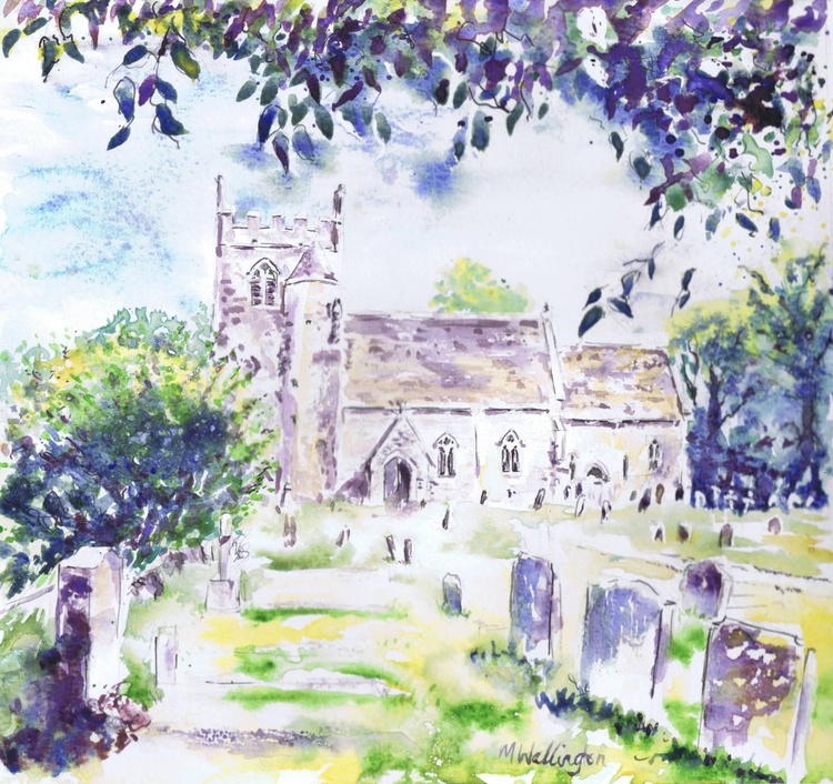 The Church at Clanfield (from under the cherry tree) - Image 0