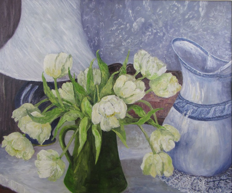 White Tulips with Water Jug - Image 0