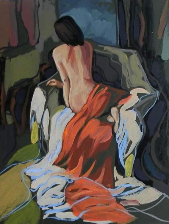 nude, original painting 21x27.5 cm - Image 0