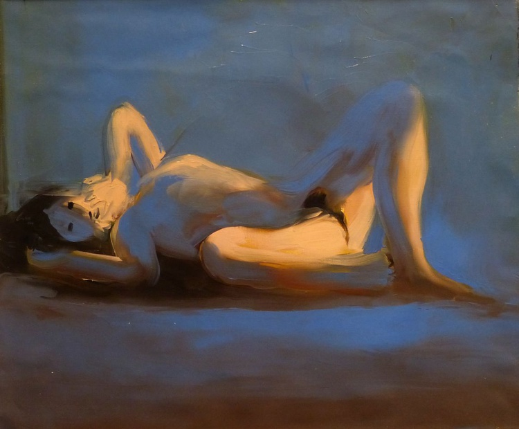 Nude in Blue, oil on canvas, 46x55 cm - Image 0