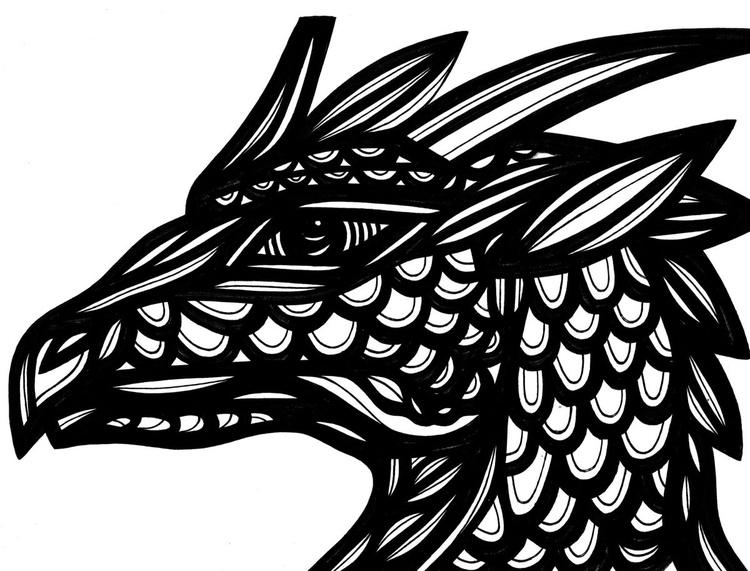 Dragon Respect Original Drawing - Image 0
