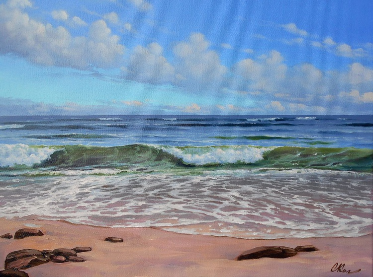 Seascape, Original oil on canvas, Free Shipping - Image 0