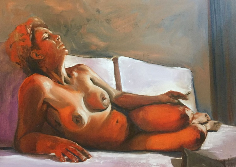 lying nude with cigarette - Image 0