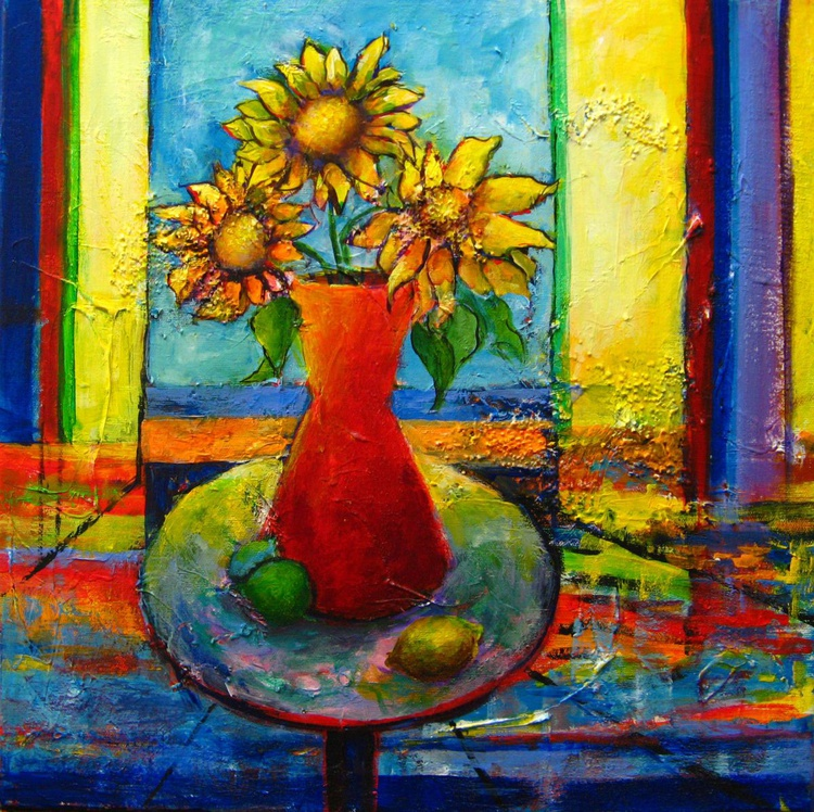 Sunflowers in orange pot - Image 0