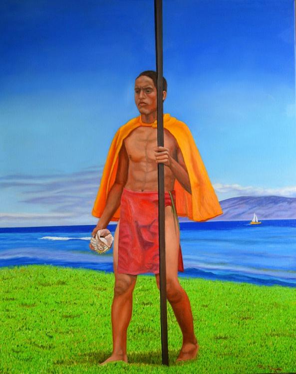 Hawaiian Prince - royalty - hawaii - male figure - coastal landscape - Image 0
