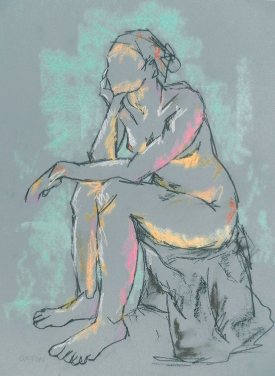 Female Nude Charcoal Seated Female Model Figure Study Life Drawing Gesture Study - Image 0