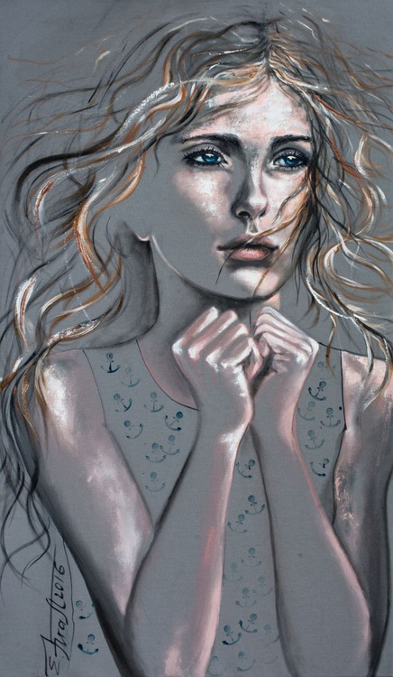 """I'll wait"",Original acrylic painting on canvas 65x110x2cm - Image 0"