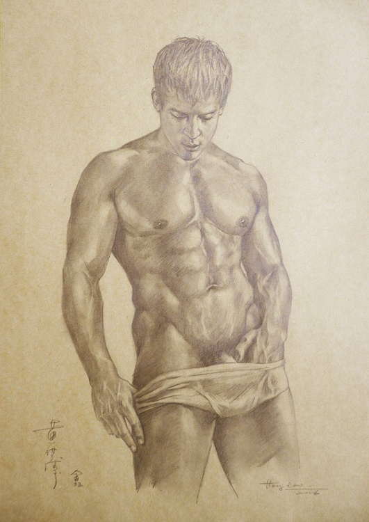 original drawing pencil art male nude man on brown paper #16-6-3 - Image 0
