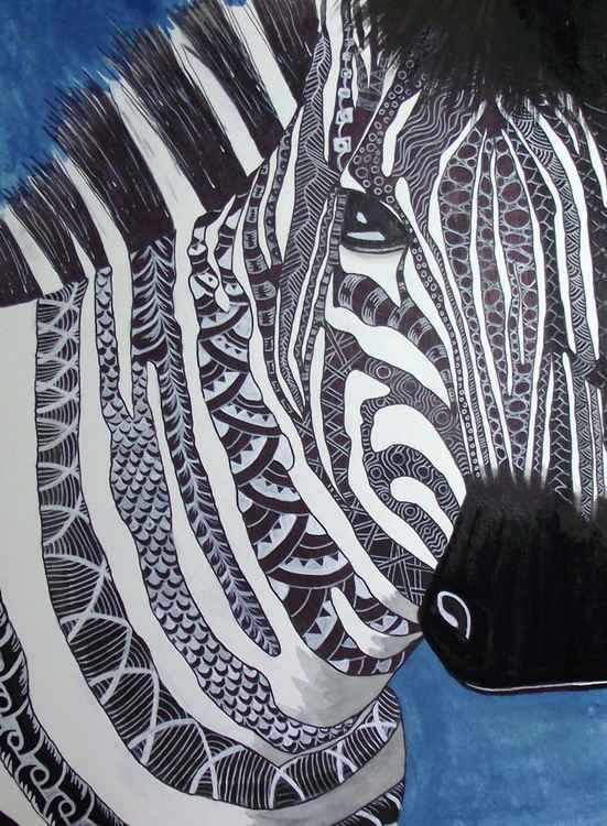 Blue zentangle zebra -