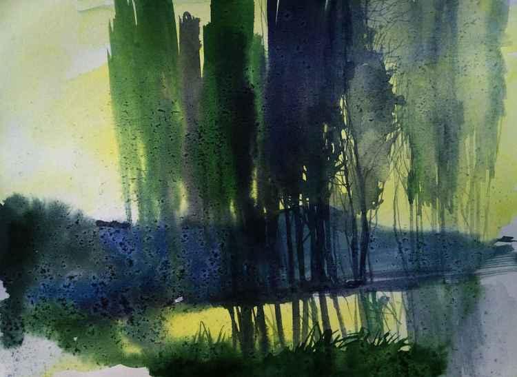 Watercolor landscape by Artem Grunyka