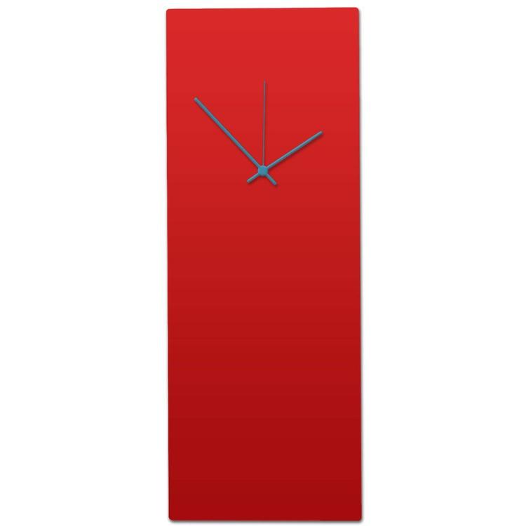 Redout Blue Clock - Large | Modern Metal Wall Clock, Minimalist Red & Blue - Image 0