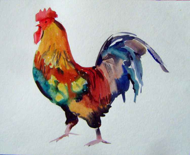 Cock, watercolor painting 35x28 cm, gift art! -