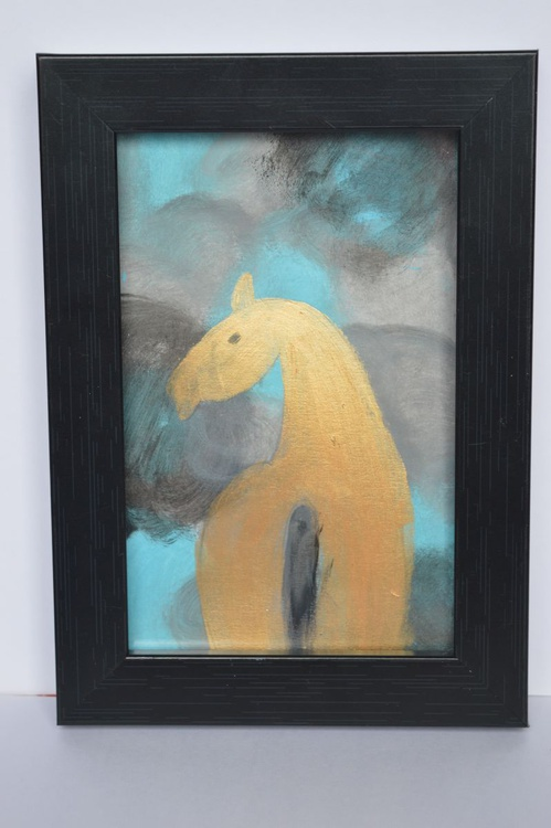 Golden Horse(12.5*18cms,Framed,Ready to Hang) - Image 0