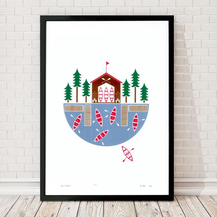 Lake Boathouse - Framed - FREE UK Delivery - Image 0