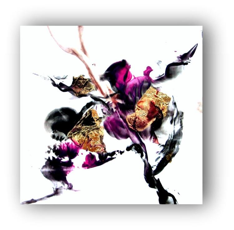 Original Abstract Encaustic Painting 12x12in organic purple black goldleaf - Image 0