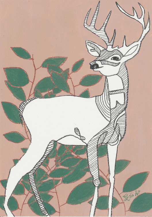 Deer and Leaves - Image 0