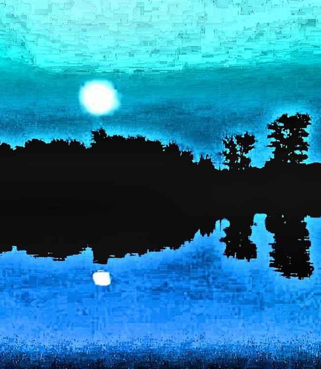 Moon Light Night on Olin Lake -