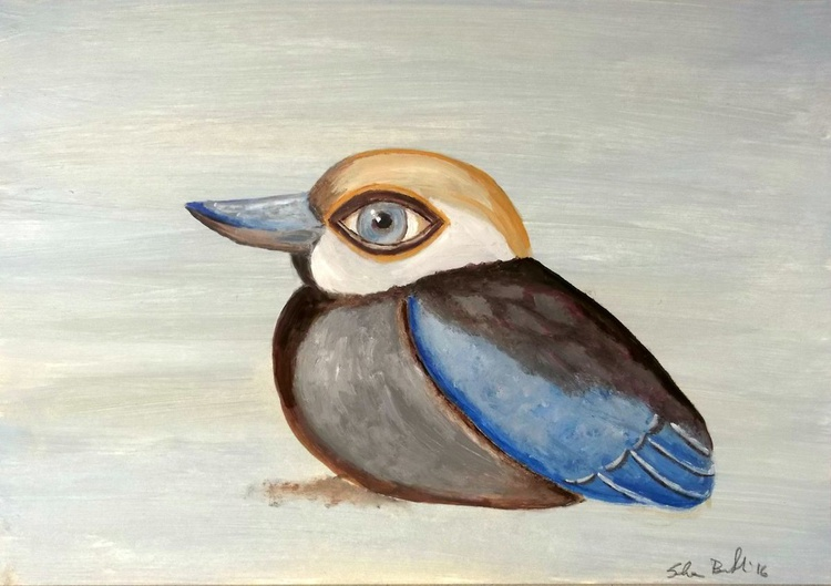 the blue bird - oil on paper - Image 0
