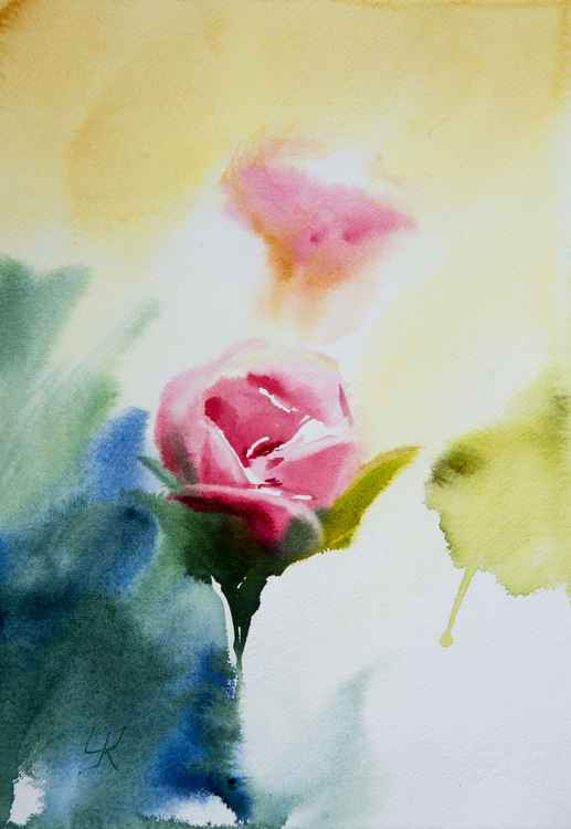 """rose in the light"", original watercolour painting, 10""x14.2""(25x35cm) -"