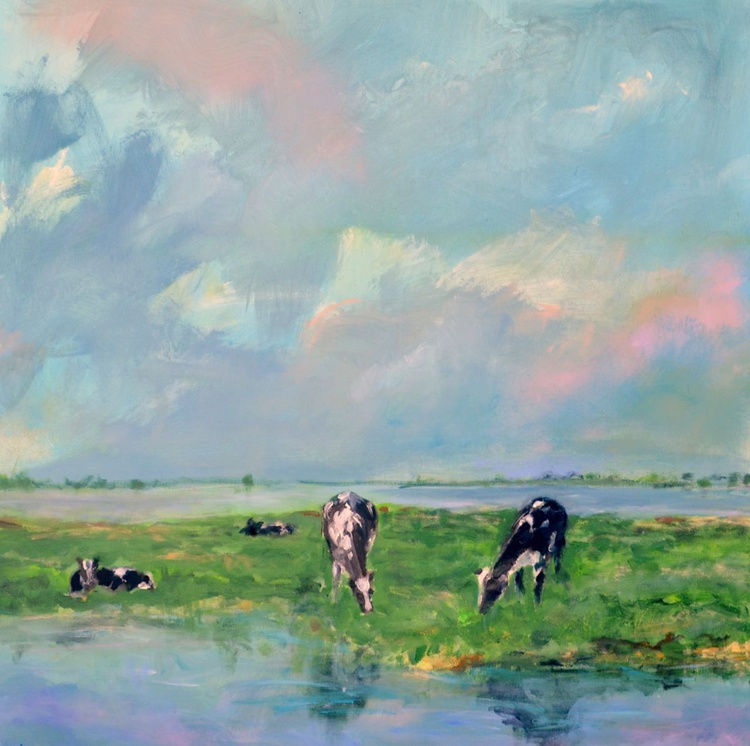 In the famous Dutch polders: cows by canals - Image 0