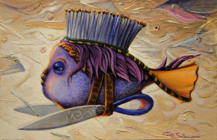 THE HAIRDRESSER FISH- (ready to hang ) - Image 0