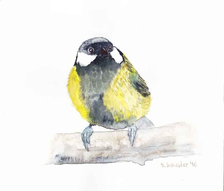 Watercolour birds portraits series. Chickadee Bird N2