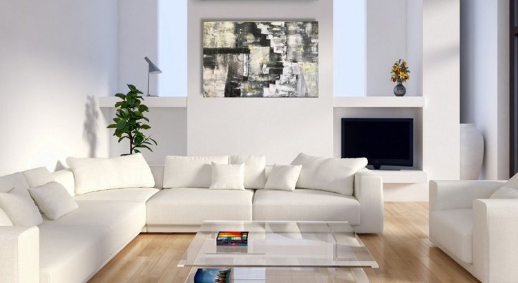 Large Black And White Abstract, Original Acrylic Painting On Canvas, Cityscape Painting, Modern Art - Image 0