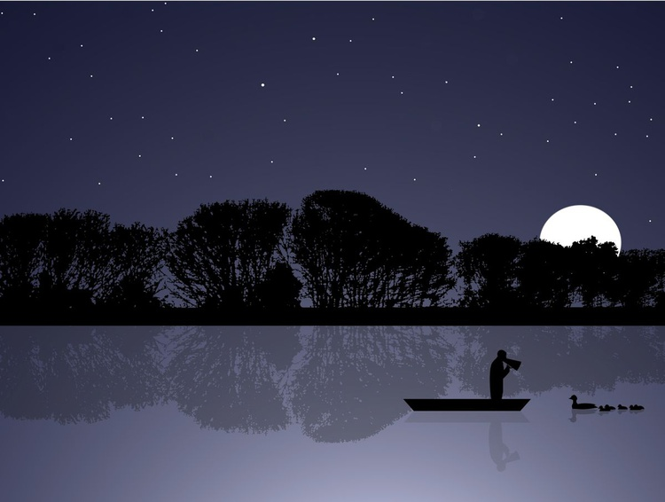Rowing Coach On Holiday At Night (large) - Image 0