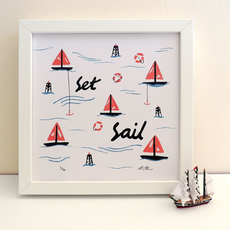 'Set Sail' Seaside Illustrated Print - Image 0