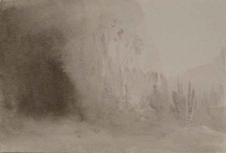 Misty Landscape, 18x12 cm -