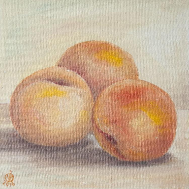 Peaches (15x15cm) original oil painting still life realistic modern light small gift kitchen decor - Image 0