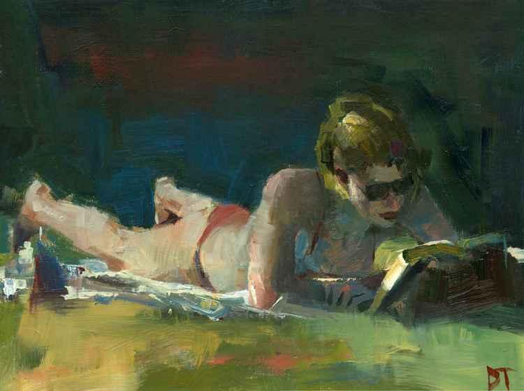 Sun Bather with Dark Background -