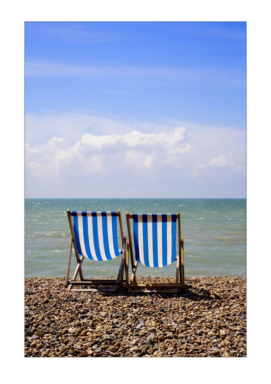Two Deck Chairs and the Sea, Brighton, Sussex - Image 0